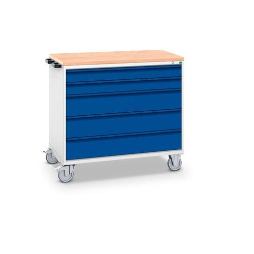 Pracovný vozík so zásuvkami a pracovnou doskou, šírka 1050 mm