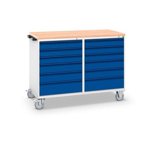 Pracovný vozík so zásuvkami a pracovnou doskou, šírka 1300 mm