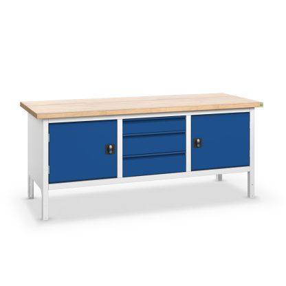 Dielenský stôl šírka 2000 mm, 3x zásuvka 2x dvierka